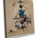 Norman Rockwell Artist Facing Blank Canvas Fine Art 20x16 Framed Canvas Print