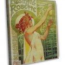 Vintage Alphonse Mucha Absinthe 16x12 Framed Canvas Print