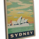 Sydney Australia Vintage Travel Image 20x16 Framed Canvas Print