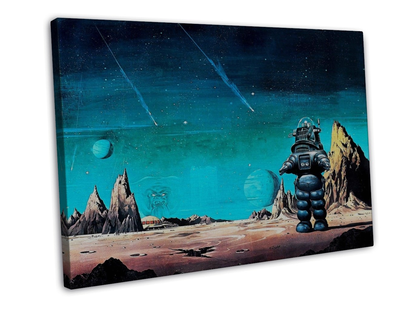 Painting Robby Robot Planet Space Art 20x16 FRAMED CANVAS Print Decor
