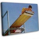 Norman Rockwell High Dive Fine Art 20x16 Framed Canvas Print