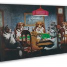 Dogs Playing Poker Fantasy Funny Art 20x16 Framed Canvas Print