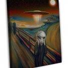 Alien Space Ship The Scream Art Image 20x16 Framed Canvas Print