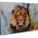 Lion Cat Animal Watercolour Art Image 20x16 Framed Canvas Print