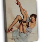 Sexy Retro Pin Up Girl Gil Elvgren Art Image 16x12 Framed Canvas Print