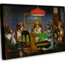 Dogs Playing Cards Art Image 20x16 Framed Canvas Print