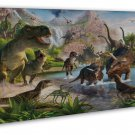 Dinosaur Volcanoes Art Murals Wall Decor 20x16 FRAMED CANVAS Print
