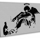 The Fallen Angel Banksy Graffiti Street Art Black White 20x16 FRAMED CANVAS Pr