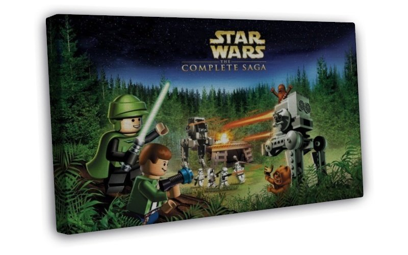 Lego Star Wars The Force Awakens Art 16x12 Framed Canvas Print Decor