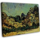 Van Gogh Mountains At SAINT REMY With Dark Cottage 20x16 Framed Canvas Print