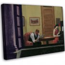 Edward Hopper Room In New York Fine Art 20x16 Framed Canvas Print