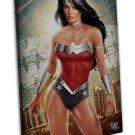 Art Design Girl Wonder Woman Wall Decor 16x12 Framed Canvas Print
