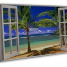 Window Beach Landscape Home Decor Art 20x16 FRAMED CANVAS Print Decor