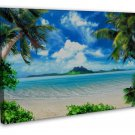 Blue Sea Beach Nature Landscape Art 20x16 FRAMED CANVAS Print Decor