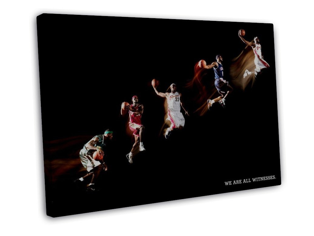 Lebron James Basketball Star Art 20x16 FRAMED CANVAS Print Decor