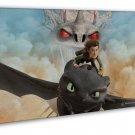 How To Train Your Dragon 1 2 Hot Movie Art 20x16 FRAMED CANVAS Print Decor