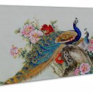 Elegant Peacock Art 20x16 Framed Canvas Print Decor