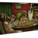 Dogs Playing Poker Vintage Wall Decor 20x16 FRAMED CANVAS Print