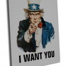 Uncle Sam I Want You Wall Decor 20x16 Framed Canvas Print
