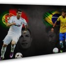 Neymar Da Silva Brazil Football Star Wall Decor 20x16 FRAMED CANVAS Print