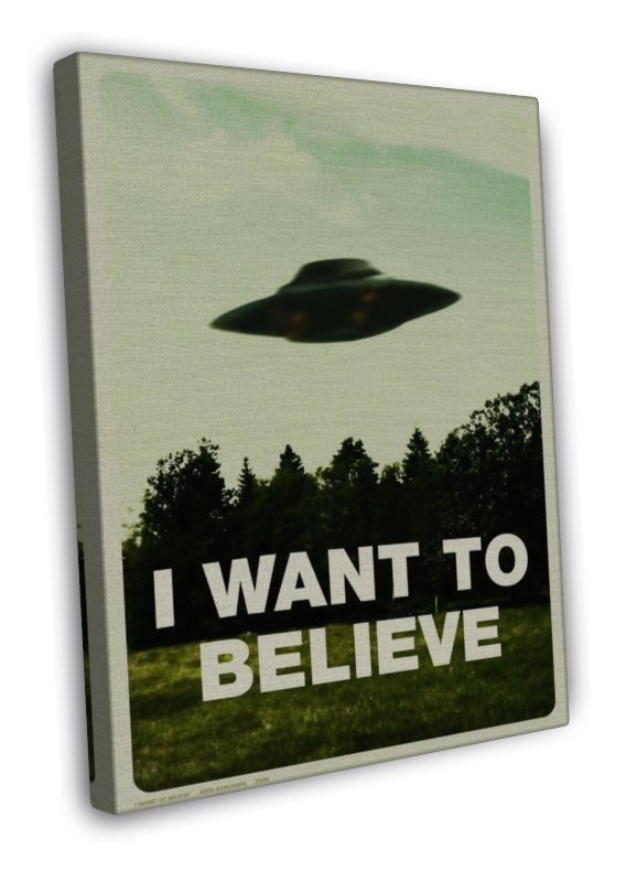 I Want To Believe X Files Art Movie Film Ufo Wall Decor 20x16 Framed Canvas Pr