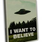 I Want To Believe X Files Art Movie Film Ufo Wall Decor 20x16 Framed Canvas Pr
