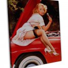 Vintage Gil Elvgren Pinup Girl Wall Decor 20x16 FRAMED CANVAS Print