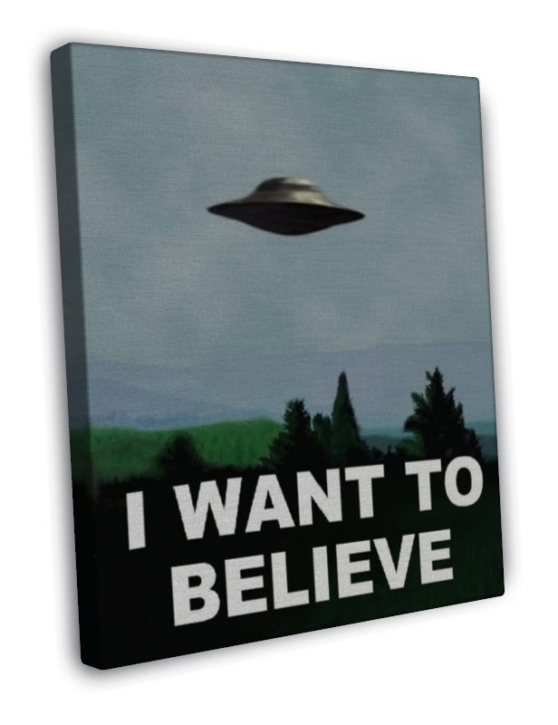 I Want To Believe X Files Art Movie Film Ufo Wall 20x16 Framed Canvas Print