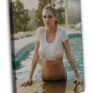 Kate Upton Swimming Pool Sexy Hot Model Girl Art 20x16 FRAMED CANVAS Print