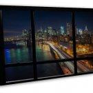 New York City Night Window View Brooklyn Bridge 20x16 FRAMED CANVAS Print