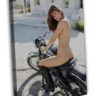 Pin Up Girl And Motorcycle Hot Sexy Model Girl 20x16 FRAMED CANVAS Print
