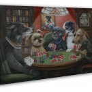 Dogs Playing Poker Cards Funny Art 20x16 Framed Canvas Print