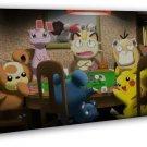 Pocket Monster Anime Pokemon Pikachu Playing Card 20x16 FRAMED CANVAS Print