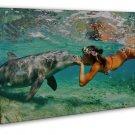 Dolphin Girl Ocean Sea Summer Kiss Positive Art 20x16 FRAMED CANVAS Print