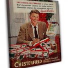 Vintage Ronald Reagan Chesterfield Cigarette Smoking Ad Art 20x16 Framed Canvas