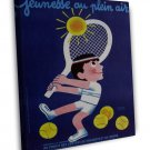Vintage French Tennis 20x16 Framed Canvas Print