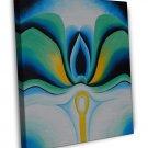 Georgia Okeeffe Blue Flowers Fine Art 20x16 Framed Canvas Print