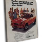 Vintage Honda Coupe Car Ad Art 20x16 Framed Canvas Print