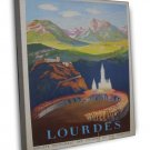 Vintage French Lourdes Travel 20x16 Framed Canvas Print