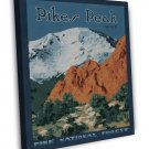 Vintage Pikes Peak Forest Wpa Art 20x16 Framed Canvas Print