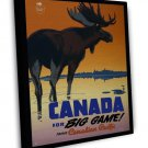 Vintage Canada For Big Game Travel Art 20x16 Framed Canvas Print