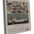 Vintage White Ford Mustang Car Ad Art 20x16 Framed Canvas Print