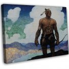 N C Wyeth Last Of The Mohicans Fine Art 20x16 Framed Canvas Print