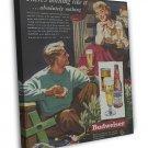 Vintage Budweiser Christmas Ad Art 20x16 Framed Canvas Print