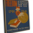Freedom 1791 To 1941 Everywhere In The World Wpa Art 20x16 Framed Canvas Print