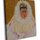 Frida Kahlo Self Portrait Fine Art 20x16 Framed Canvas Print