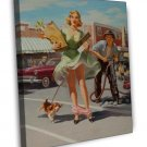 Art Frahm PIN UP Girl Art 20x16 Framed Canvas Print