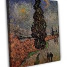 Van Gogh Road With Cypress And Star 20x16 Framed Canvas Print