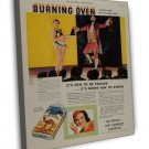 Vintage Camel Burning Oven Cigarette Smoking Ad Art 20x16 Framed Canvas Print