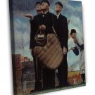 Norman Rockwell Game Called Because Of Rain Fine Art 20x16 Framed Canvas Print